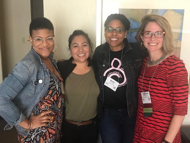 Left to right: Jenn Roberts/Equity and Inclusion Lead, Rachael Lorenzo/Community Innovation Team Leader, Binta Beard/Policy Summit Lead, Catherine D'Ignazio/Executive Director